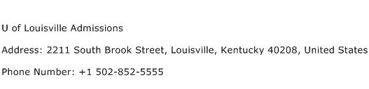 U of Louisville Admissions Address Contact Number