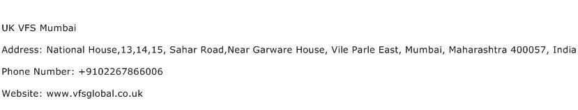 UK VFS Mumbai Address Contact Number