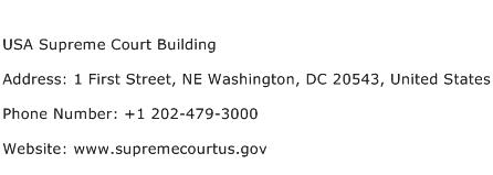 USA Supreme Court Building Address Contact Number