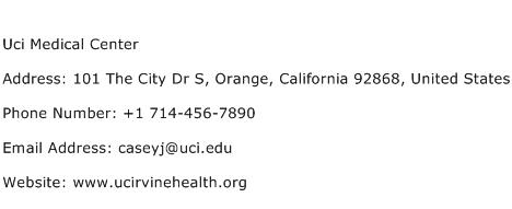 Uci Medical Center Address Contact Number