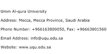 Umm Al qura University Address Contact Number