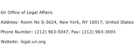 Un Office of Legal Affairs Address Contact Number