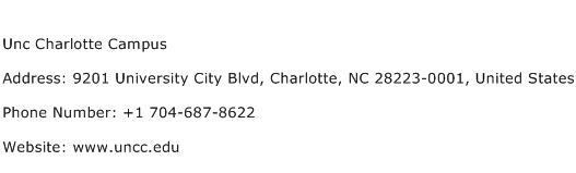 Unc Charlotte Campus Address Contact Number