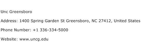 Unc Greensboro Address Contact Number