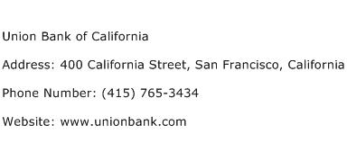 Union Bank of California Address Contact Number