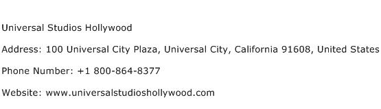 Universal Studios Hollywood Address Contact Number