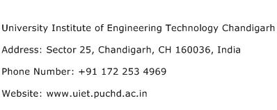 University Institute of Engineering Technology Chandigarh Address Contact Number