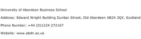 University of Aberdeen Business School Address Contact Number