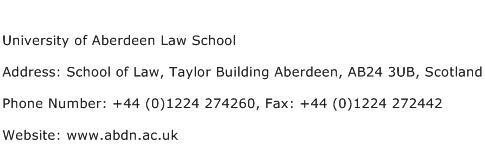 University of Aberdeen Law School Address Contact Number