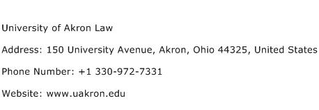 University of Akron Law Address Contact Number