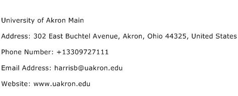 University of Akron Main Address Contact Number