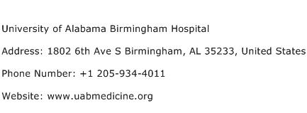 University of Alabama Birmingham Hospital Address Contact Number