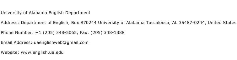 University of Alabama English Department Address Contact Number