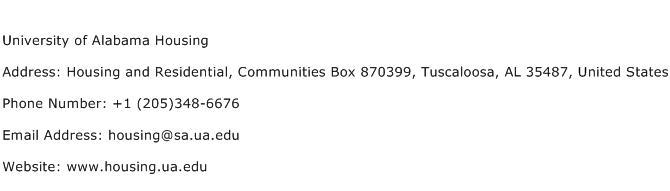 University of Alabama Housing Address Contact Number