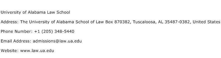 University of Alabama Law School Address Contact Number
