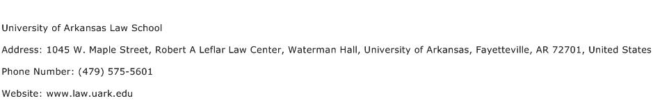 University of Arkansas Law School Address Contact Number