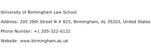 University of Birmingham Law School Address Contact Number
