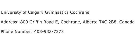 University of Calgary Gymnastics Cochrane Address Contact Number