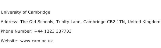 University of Cambridge Address Contact Number