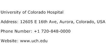 University of Colorado Hospital Address Contact Number