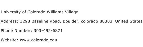 University of Colorado Williams Village Address Contact Number