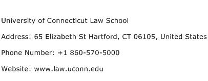 University of Connecticut Law School Address Contact Number