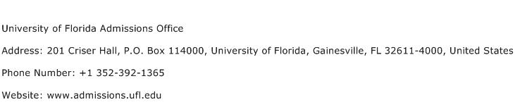 University of florida admissions office address contact - University of florida office of admissions ...