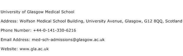 University of Glasgow Medical School Address Contact Number