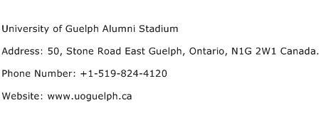 University of Guelph Alumni Stadium Address Contact Number
