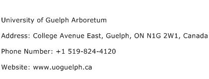 University of Guelph Arboretum Address Contact Number
