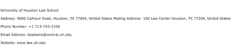 University of Houston Law School Address Contact Number