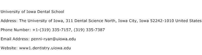 University of Iowa Dental School Address Contact Number