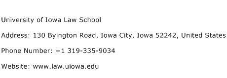 University of Iowa Law School Address Contact Number