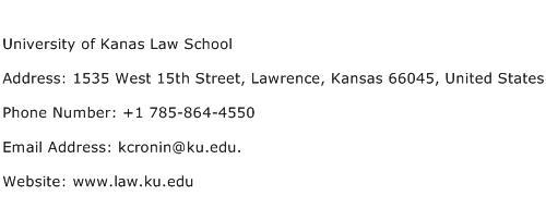 University of Kanas Law School Address Contact Number