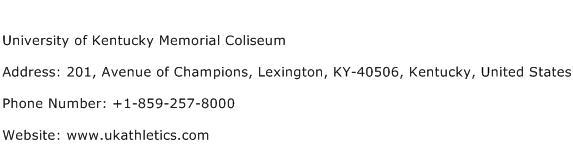 University of Kentucky Memorial Coliseum Address Contact Number