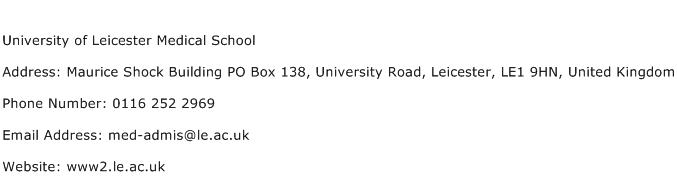 University of Leicester Medical School Address Contact Number