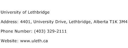 University of Lethbridge Address Contact Number