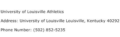 University of Louisville Athletics Address Contact Number