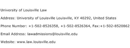 University of Louisville Law Address Contact Number