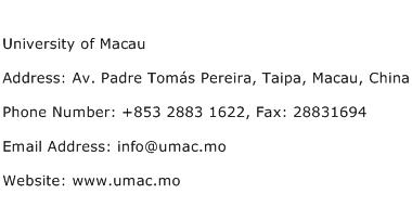 University of Macau Address Contact Number