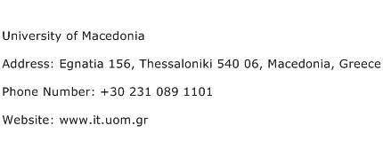 University of Macedonia Address Contact Number