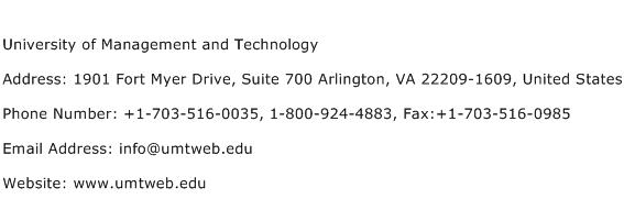 University of Management and Technology Address Contact Number