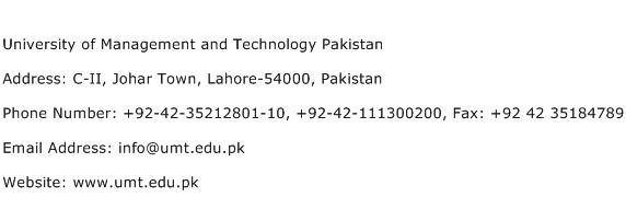 University of Management and Technology Pakistan Address Contact Number