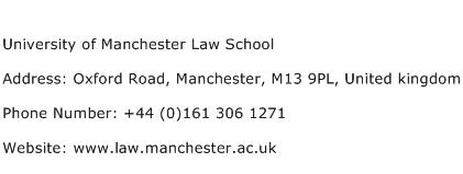 University of Manchester Law School Address Contact Number