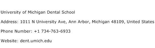 University of Michigan Dental School Address Contact Number