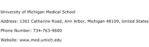 University of Michigan Medical School Address Contact Number