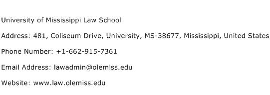 University of Mississippi Law School Address Contact Number