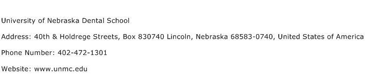 University of Nebraska Dental School Address Contact Number