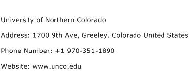 University of Northern Colorado Address Contact Number