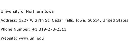 University of Northern Iowa Address Contact Number